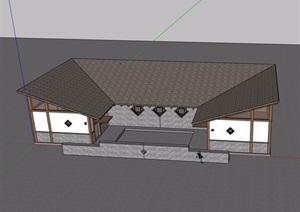 单层详细的厕所建筑设计SU(草图大师)模型