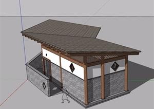 单层中式详细完整的公厕建筑SU(草图大师)模型