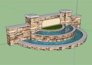 园林景观水池景墙SU(草图大师)模型