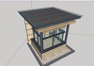 某现代风格玻璃房门卫室素材设计SU(草图大师)模型