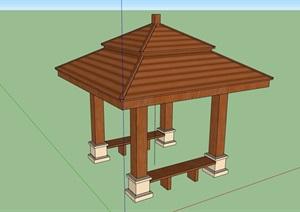 全木质详细完整的凉亭设计SU(草图大师)模型