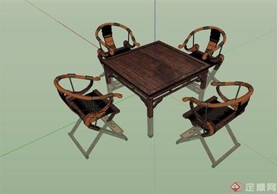 中式桌子组合完整设计su模型