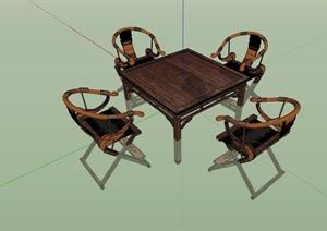 中式桌子组合完整设计SU(草图大师)模型