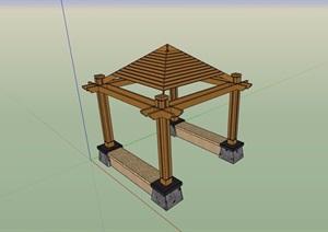 全木质详细完整的休闲亭设计SU(草图大师)模型