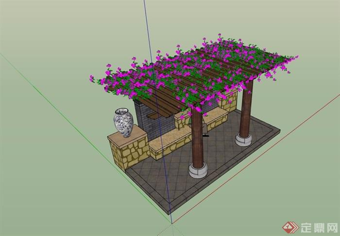 园林景观休闲花架素材设计su模型