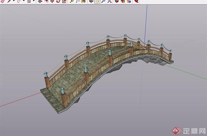 园林景观经典过河园桥素材设计su模型医院设计照明图片