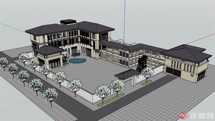 新古典风格详细的私人三层住宅别墅设计su模型
