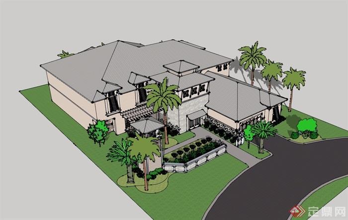 某欧式风格两层详细的完整别墅设计su模型