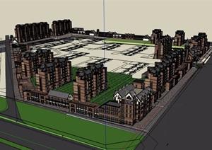 欧式风格多层商业住宅小区建筑楼SU(草图大师)模型