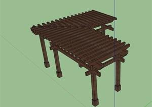 经典详细完整的木廊架SU(草图大师)模型