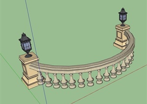 欧式详细的经典石栏杆素材设计SU(草图大师)模型