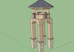 园林景观详细完整的瞭望塔素材设计SU(草图大师)模型
