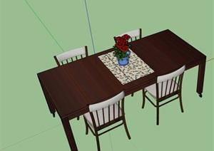 四人详细完整的餐桌椅素材设计SU(草图大师)模型