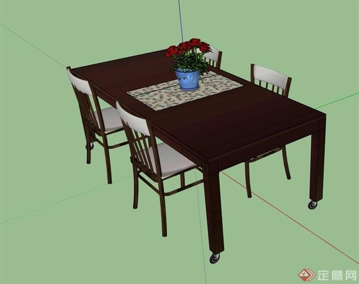 四人详细完整的餐桌椅素材设计su模型