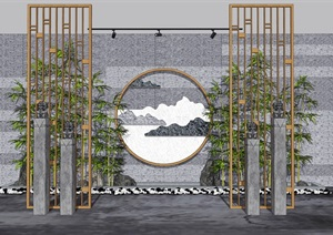 新中式禅意景墙 景观小品 隔断 鹅卵石 竹子组合SU(草图大师)模型