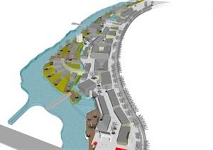 现代滨水弧线带式商业休闲步行风情水街旅游小镇规划