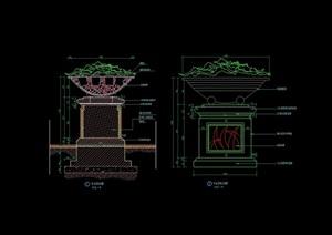现代花钵素材设计cad施工图