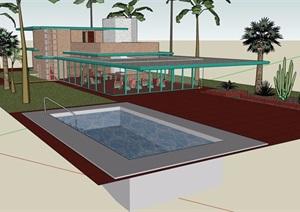 两层现代私人住宅别墅SU(草图大师)模型