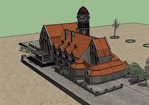 巴洛克风格古建别墅设计SU(草图大师)模型
