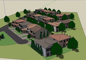详细的多栋完整小区别墅设计SU(草图大师)模型