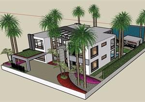 两层现代私人完整别墅设计SU(草图大师)模型