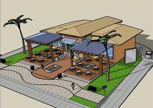 某餐饮建筑单层设计SU(草图大师)模型