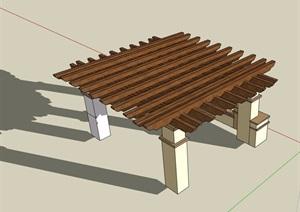 详细完整的木质廊架SU(草图大师)模型