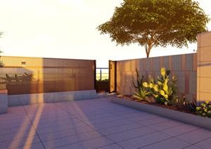 现代简约风格屋顶花园SU(草图大师)模型,不含植物