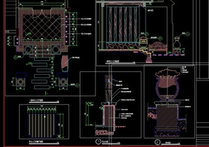 园林景观花钵、水钵设计cad施工图