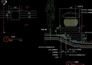 现代详细的花钵cad施工图