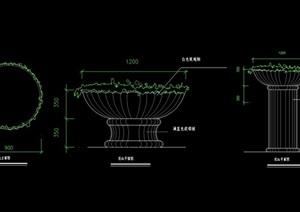 欧式详细的花钵柱cad施工图