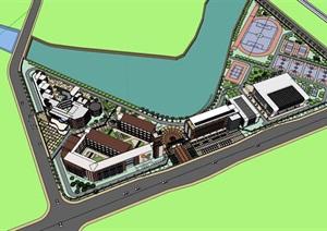 L型基地布局现代滨水红砖材质表皮中小学校园幼儿园综合规划设计