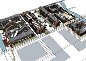 现代创意折板屋顶红砖表皮中小学校园规划教学楼设计