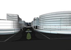 三角形基地现代大型参数化曲线形体城市商业文化办公会展中心综合体规划