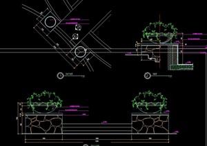现代园林景观花钵及坐凳设计cad施工图