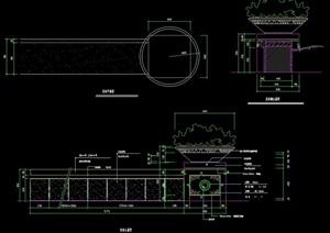 花钵及坐凳详细设计cad施工图