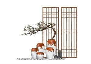 新中式禅意景观小品 陶罐 枯枝 屏风组合SU(草图大师)模型