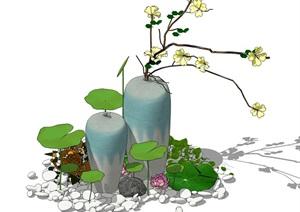 新中式景观小品 荷叶 鹅卵石 枯枝 陶罐组合SU(草图大师)模型