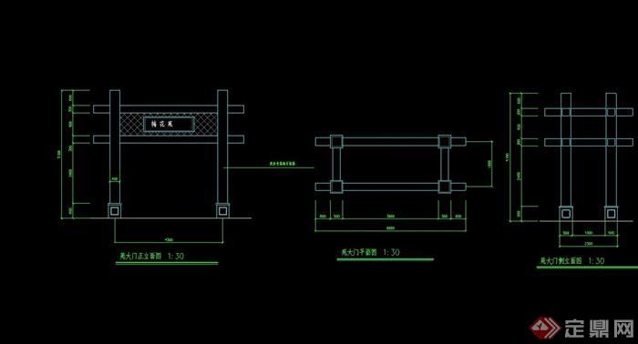 [gate 047] 简单的大门素材cad施工图,图纸包含了材料及尺寸标注
