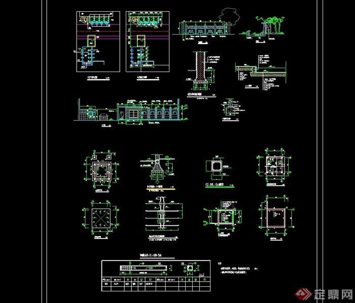 现代详细的大门素材cad施工图