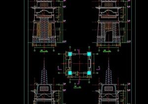 某旅游景区塔楼建筑及其他建筑cad施工图