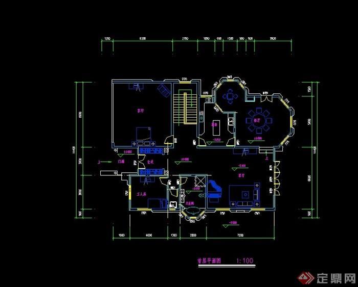 现代三层别墅建筑设计cad平面方案