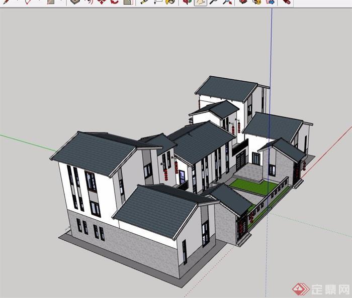 双拼详细中式别墅设计su模型