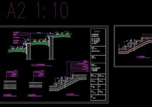 标准台阶及种植池cad施工图