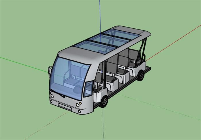 观光车电瓶车SU模型(3)