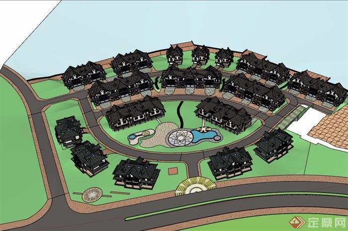 欧式详详细完整的双拼住宅别墅设计su模型
