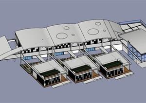 创意拱形曲面屋顶木格栅表皮单元式幼儿园托儿所设计