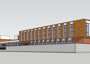 现代创意简约砖表皮工厂生产厂房办公行政管理楼综合建筑