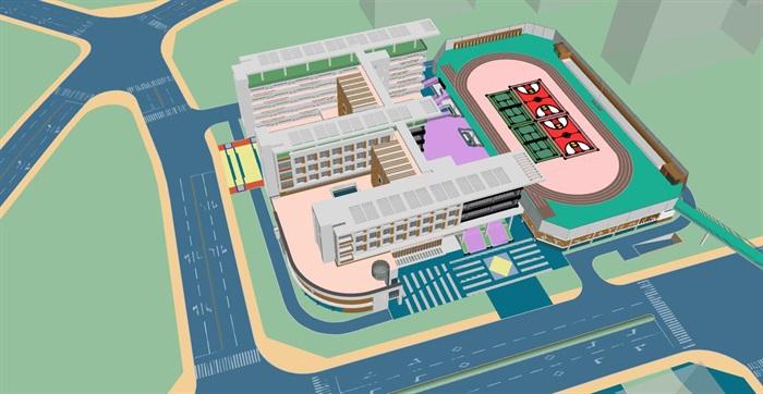 现代创意交流共享新型教学空间中小学校园规划设计su模型 cad 超清效果图 平面填色图 psd 分析文本(11)
