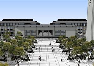 现代创意新中式典雅风大学校园校区规划教学楼设计